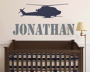Helicopter Wall Decal Personalized Name Vinyl Wall Art