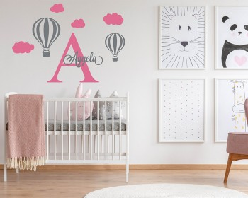 Hot Air Ballon Wall Decal with Personalized Name