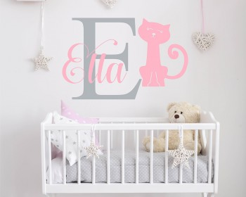 Kitty with Girls Name Decal