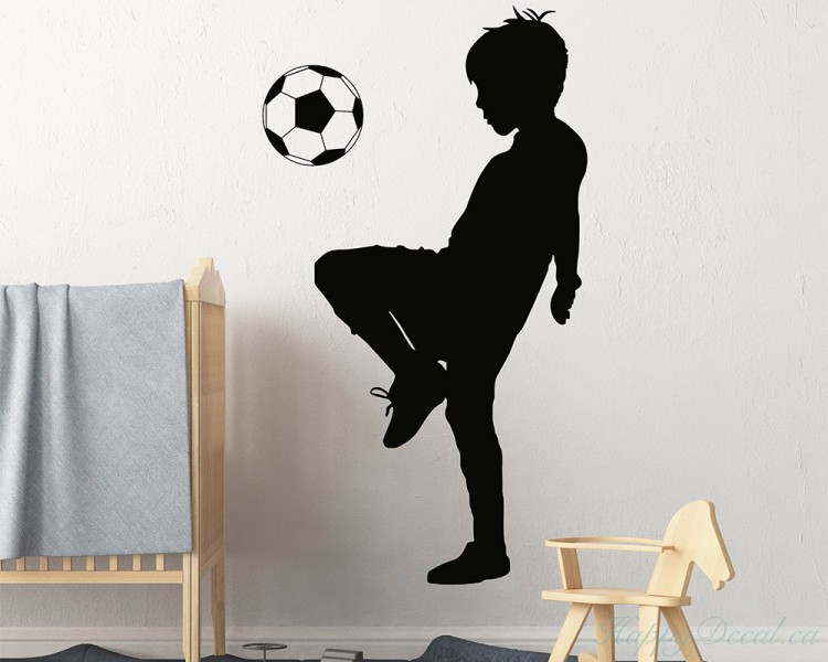Boy Playing Soccer Decal