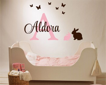 Bunny Butterfly with Name Decal