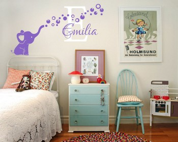 Elephant Bubbles Nursery Decal