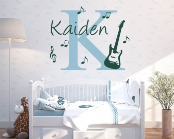 Initial & Name Wall Decal with Guitar and Music Notes