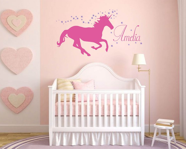 Unicorn with Personalized Name  Wall Decal