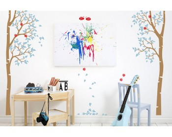 Nursery autumn birch tree wall decal with ladybugs
