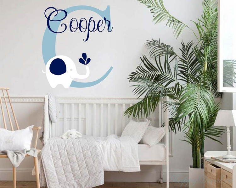 elephant baby name wall decal