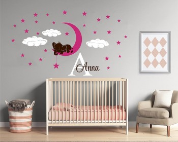 Elephant on Moon Custom Decal for Nursery