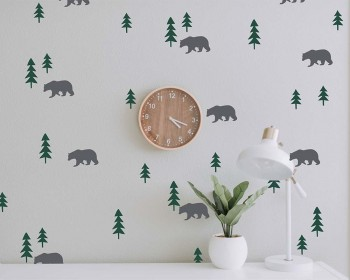 Bears in the forest Wall Decals