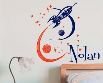 Rocket ship with custom name Wall Decal