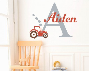 Name Tractor Wall Decal