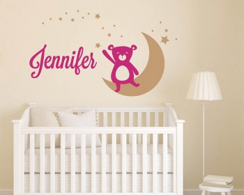 Bear, Moon, Star and Name Decal