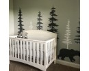 Pine Tree Wall Decals With Bear