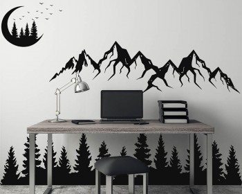 Mountain landscape with Moon, Pine tree Decals
