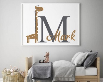Giraffe Personalized Name and Initial Vinyl Decal