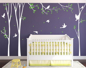 Corner Trees with Birds Branch Decals