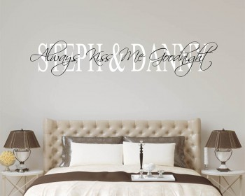 Always Kiss Me Goodnight Personalized Name Decal