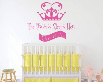 Princess Sleeps Here Crown Custom Decal
