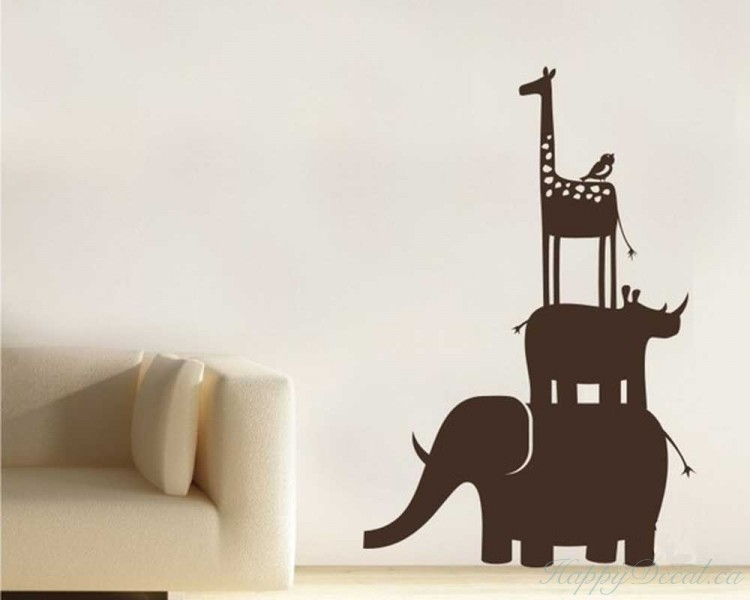 Giraffe Rhinoceros Elephant Friends Love