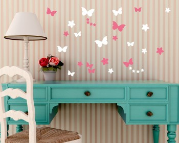 Flowers Butterflies Vinyl Wall Art Decals