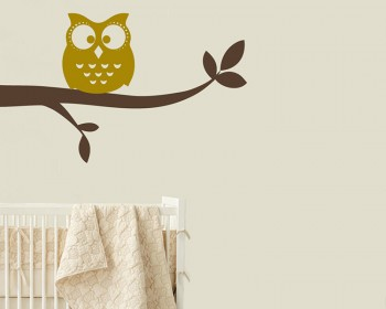 Owl Standing on Branch Animal Nursery Decal