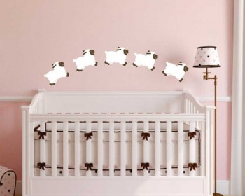 A Set of 6 Little Sheep Nursery Wall Decal
