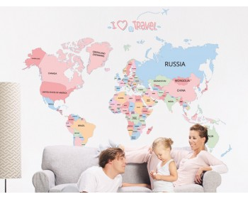 Large World Map Posters   Geography Educational Sticker
