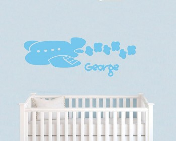 Plane Clouds Customized Name Vinyl Decal For Nursery