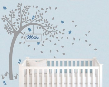 Tree Wall Decal with Customized Name Frame