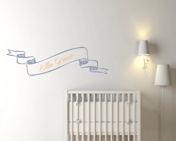 Ribbon Customized Name Vinyl Wall Decal For Children