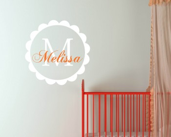 Customized Name with Circle Frame Wall Decal For Nursery & Kids