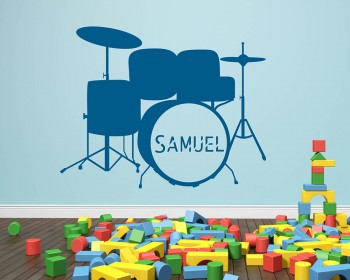 Drum Kit Customized Name Vinyl Decal Nursery Sticker