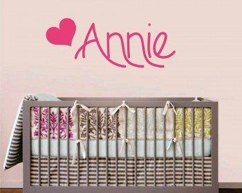 Heart Cute Customized Name Vinyl Decal Nursery Sticker