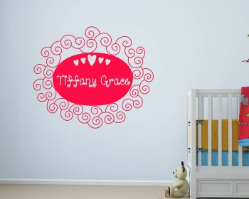 Customized Name Floral Frame Vinyl Decal Nursery Sticker
