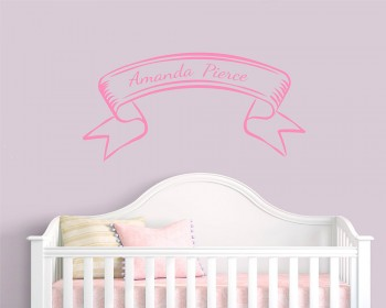 Ribbon Customized Name Vinyl Wall Decal For Nursery