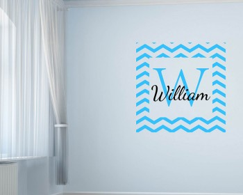 Customized Name Chevron Frame Wall Decal For Kids