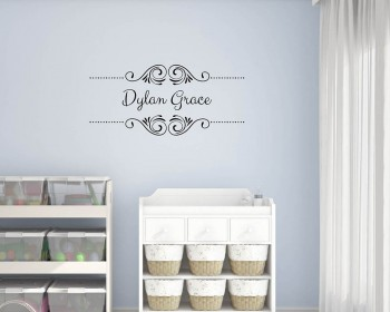 Customized Full Name with Frame Vinyl Decal Nursery Sticker