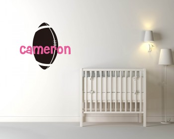 Rugby Customized Name Cartoon Decal For Nursery
