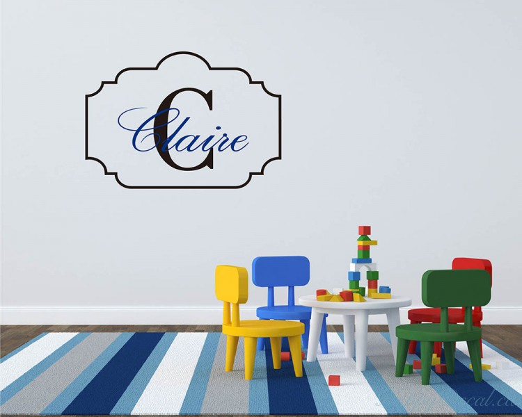 Customized Name Frame Initial Letter Wall Decal For Kids
