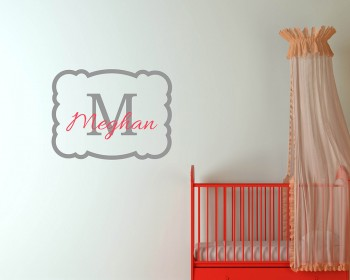 Customized Name with Frame Initial Letter Decal For Nursery