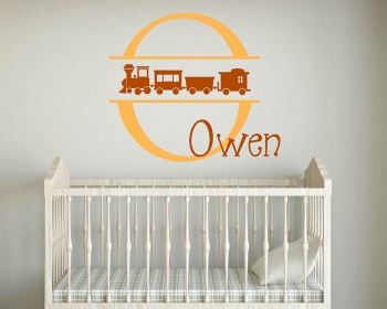 Cute Train Customized Name Initial Letter Decal For Nursery