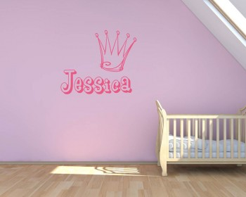 Customized Name Crown Vinyl Decal Children Sticker