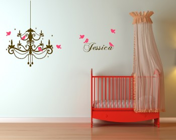 Chandelier with Customized Name  Birds Customized Name Vinyl Decal