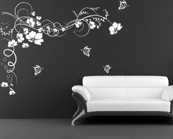 Floral Vines Butterflies Vinyl Decals Modern Wall Art