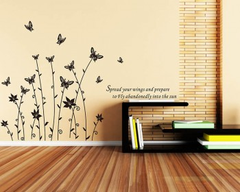 Butterfly Flowers Vinyl Decals Modern Wall Art