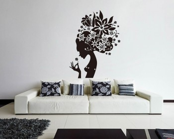 Mysterious Floral Fairy Vinyl Decals Modern Wall Art
