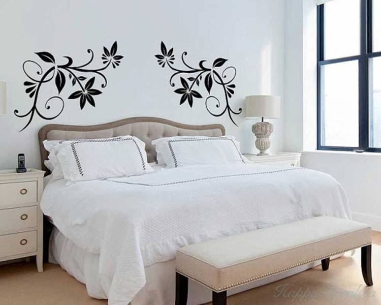 Coupled Floral Vines Vinyl Decals Modern Wall Art