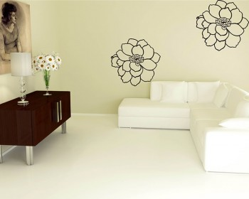 A Set of 2 Flowers Vinyl Decals Modern Wall Art
