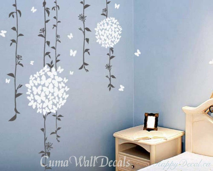 Beautiful Vines with Butterflies Flowers Decal