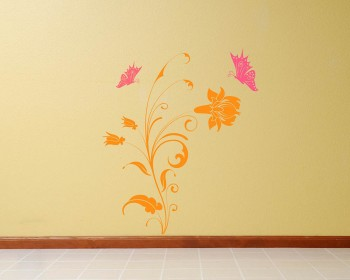 Beautiful Flowers with Butterflies Vinyl Wall Art Decal