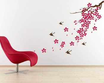 Sakura Swallows Flowers Vinyl Wall Art Decal